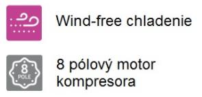 wind-free chladenie, 8-pólový kompresor